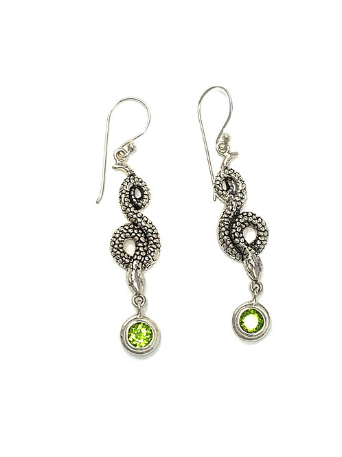 Sterling Silver Snake Earrings with Natural Round Peridot.