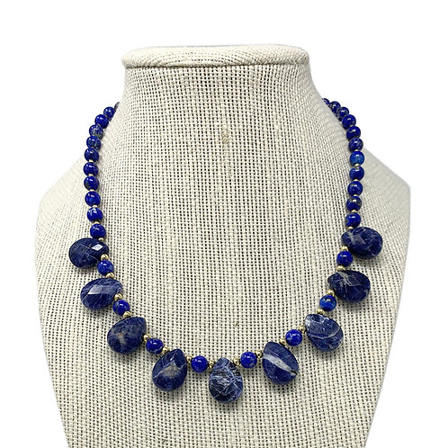 "14K 18"" Natural Lapis & Sodalite Necklace"
