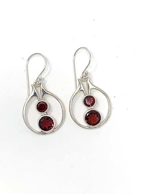 Sterling Silver Dangling Earrings with Natural Round Garnet.