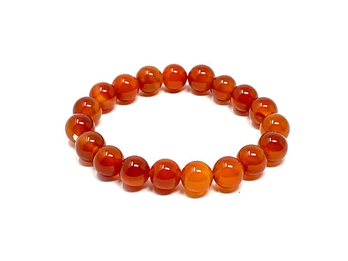 10 mm Round Red Carnelian Agate  Elastic Bracelet