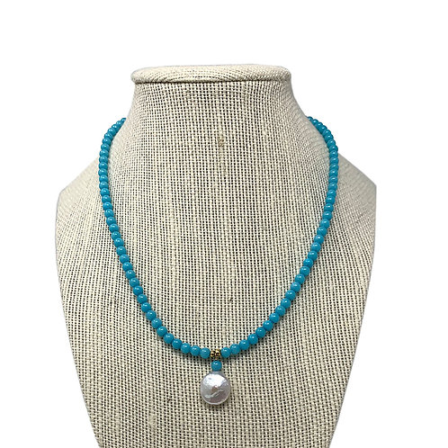 14K Blue Quartz Necklace with Fresh Water Pearl