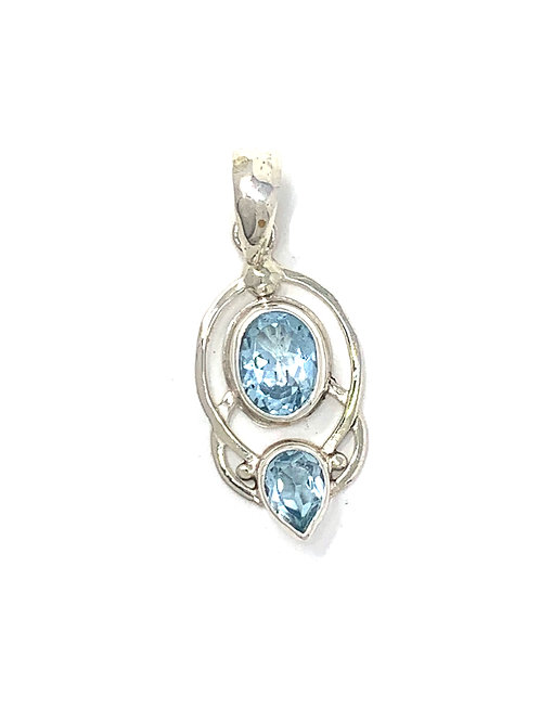 Sterling Silver Pendant with Oval & Pear Shape Blue Topaz stone