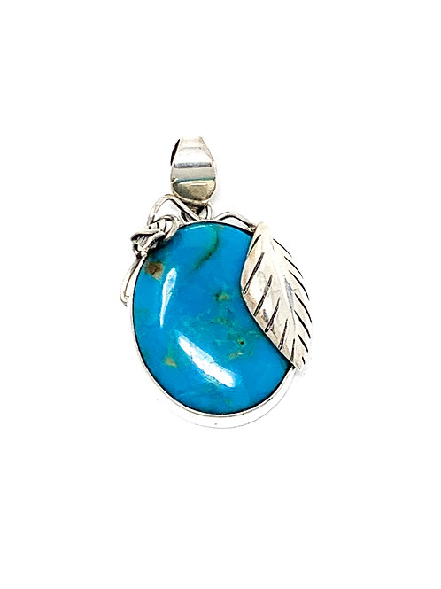 Sterling Silver Natural Turquoise Oval Shape Pendant with Leaf