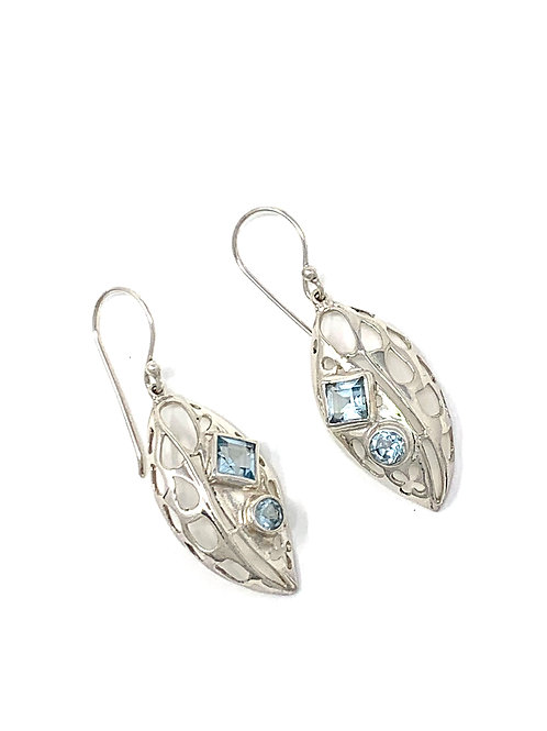 Sterling Silver Marquise Shape Dangling Earrings with Faceted Blue Topaz.