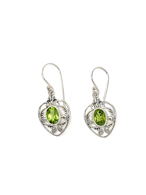 Sterling Silver Heart Earrings with Natural Oval Peridot.
