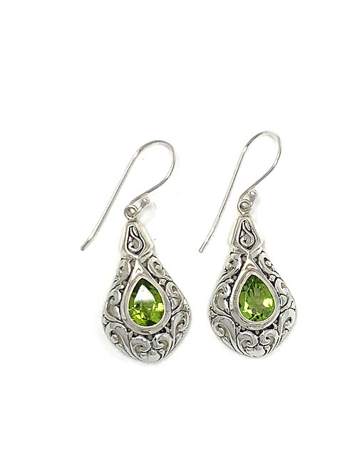 Sterling Silver Dangling Earrings with Natural Pear Shape Peridot.