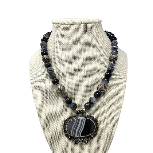 Sterling Silver Gray Botswana Agate Necklace