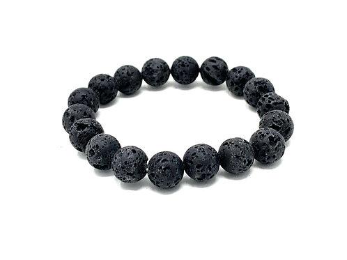10 mm Round Black Lava. Elastic Bracelet
