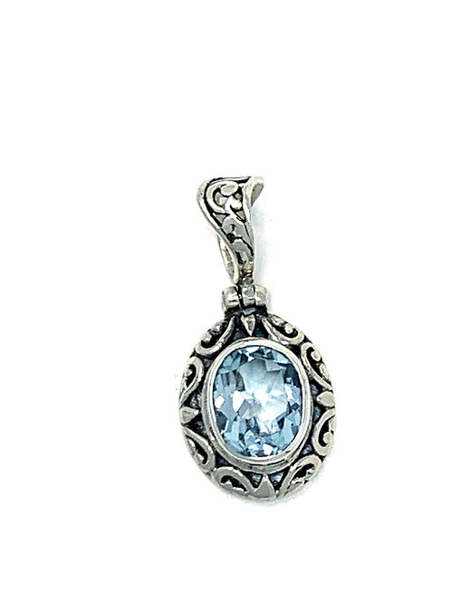 Sterling Silver Pendant with Oval Blue Topaz stone