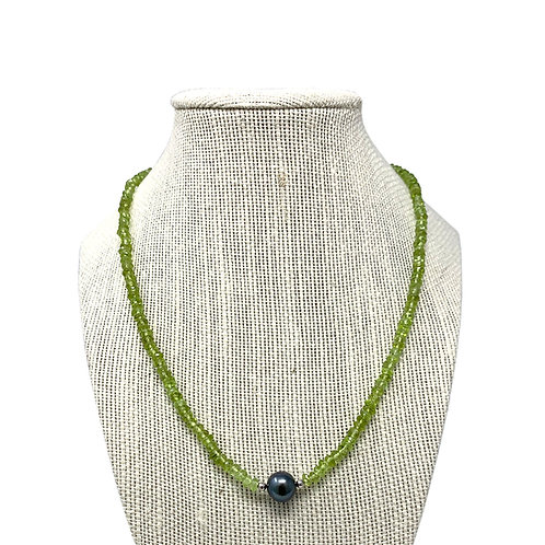 Sterling Silver Peridot & Pearl Necklace