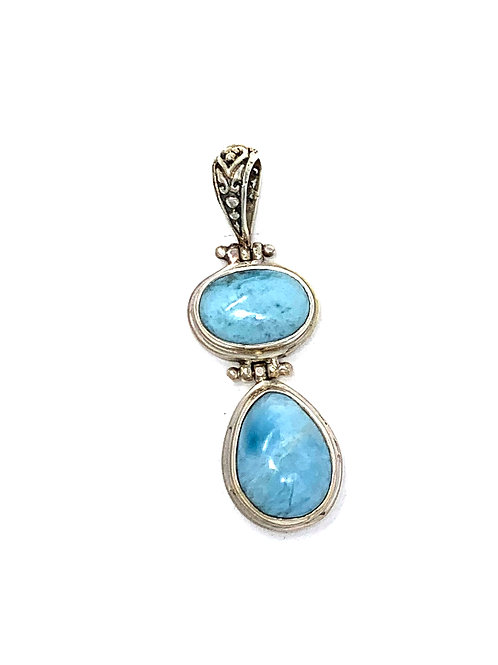 Sterling Silver Larimar Pendant with 2 stones