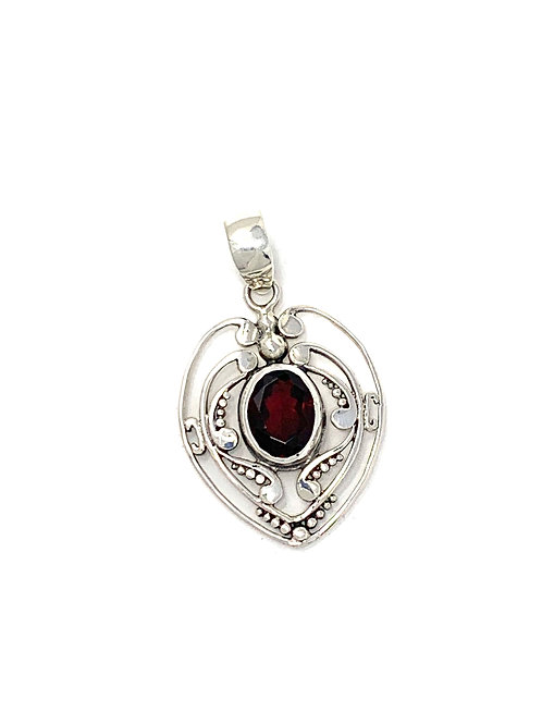 Sterling Silver Heart Pendant with Oval Garnet stone