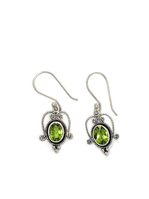 Sterling Silver Dangling Earrings with Natural Oval Peridot.