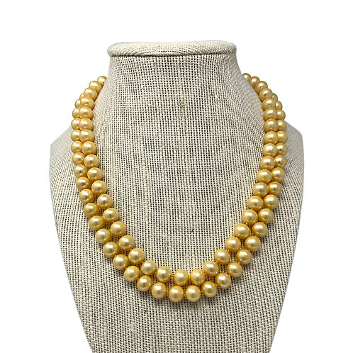 14K 2 rows Yellow Fresh Water Pearl Necklace