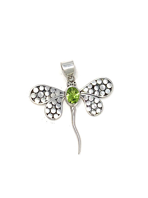 Sterling Silver Dragonfly Pendant with Oval Peridot stone