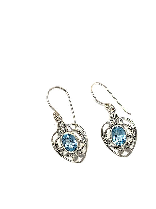 Sterling Silver Heart Dangling Earrings with Natural oval Faceted Blue Topaz.