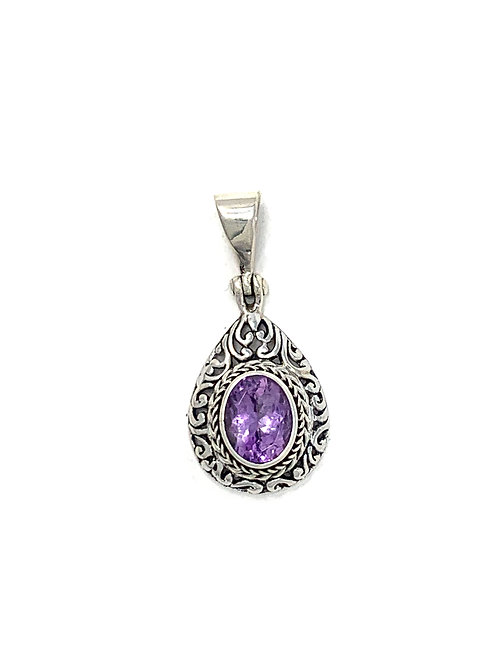 Sterling Silver Pear Shape Pendant with Oval Shape Amethyst stone