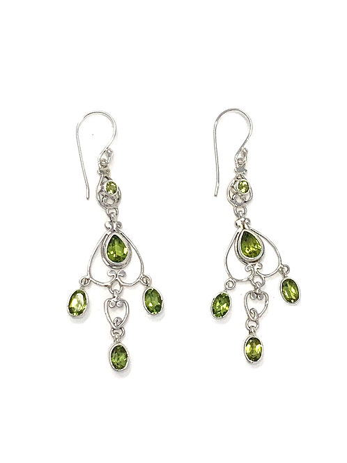 Sterling Silver Dangling Earrings with Natural Peridot.