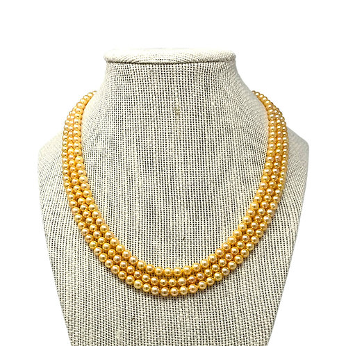 14K 3 rows Yellow Fresh Water Pearl Necklace