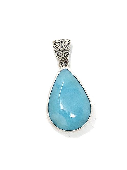 Sterling Silver Larimar Pear Shape Pendant
