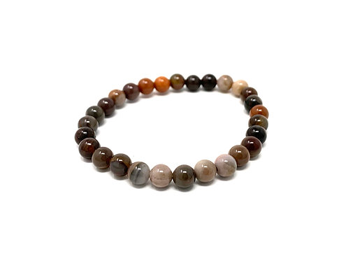 6 mm Round Fossilized Wood Agate Stretch Bracelet