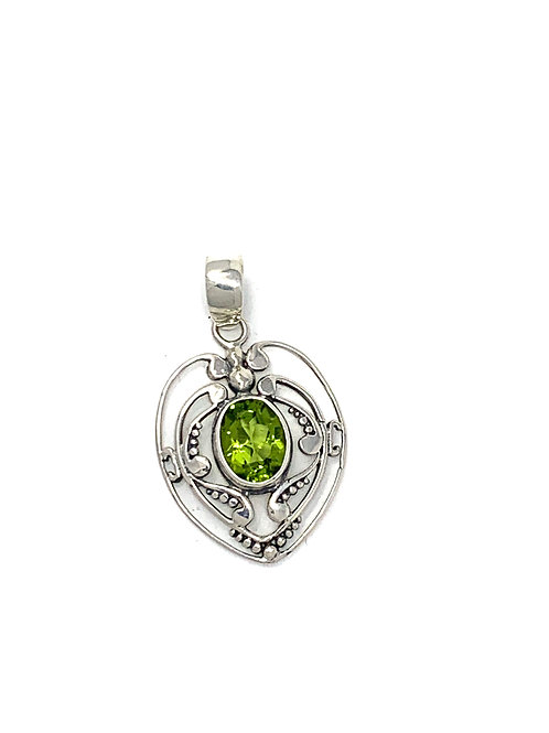 Sterling Silver Heart Pendant with Oval Peridot stone