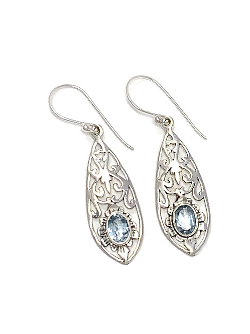 Sterling Silver Dangling Pear Shape Earrings with Natural Blue Topaz.