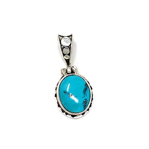 Sterling Silver Natural Turquoise Oval Pendant