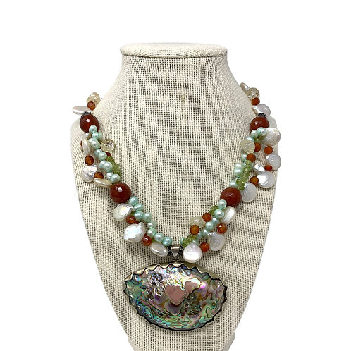 Sterling Silver, Pearl, Agate, & Abalone Necklace