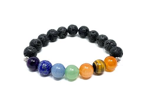 10 mm Lava /10 mm Round Chakra Elastic Bracelets
