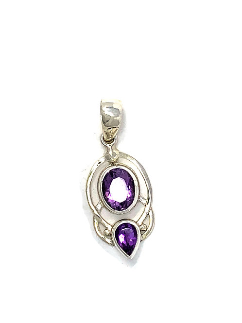 Sterling Silver Pendant with Oval & Pear Shape Amethyst stone