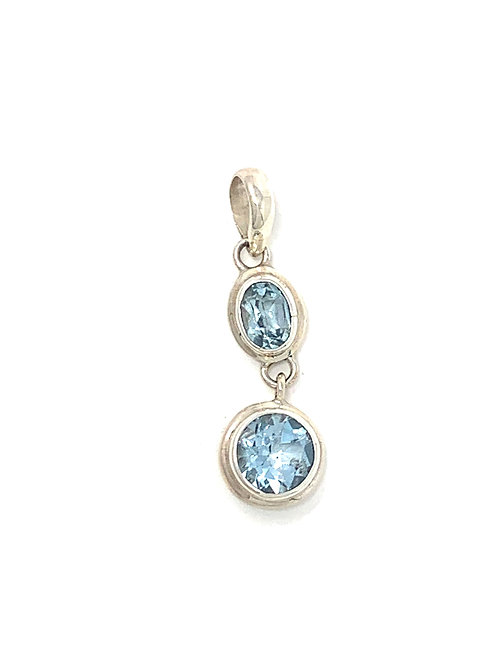 Sterling Silver Pendant with Oval & Round Shape Blue Topaz stone