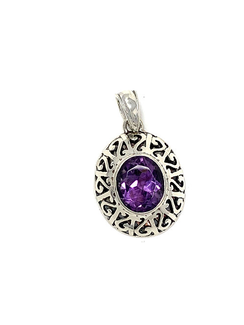 Sterling Silver Pendant with Oval Shape Amethyst stone