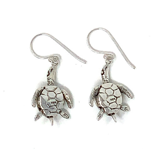 Sterling Silver Sea Turtle Dangling Earrings.