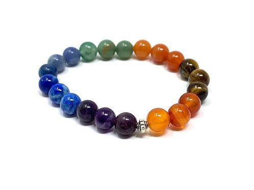8 mm Round Chakra Elastic Bracelets