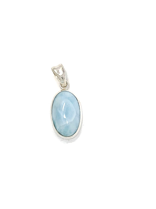 Sterling Silver Larimar Oval Pendant