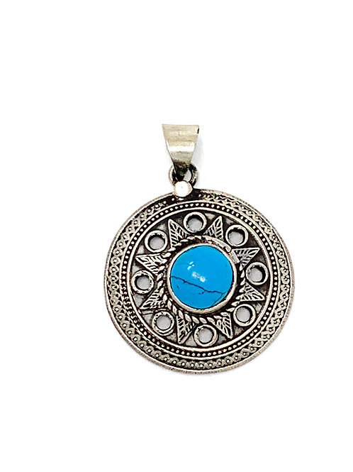 Sterling Silver Natural Turquoise Round Pendant
