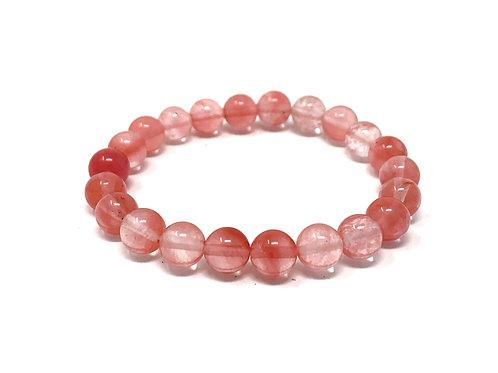 8 mm Round Cherry Quartz Elastic Bracelet
