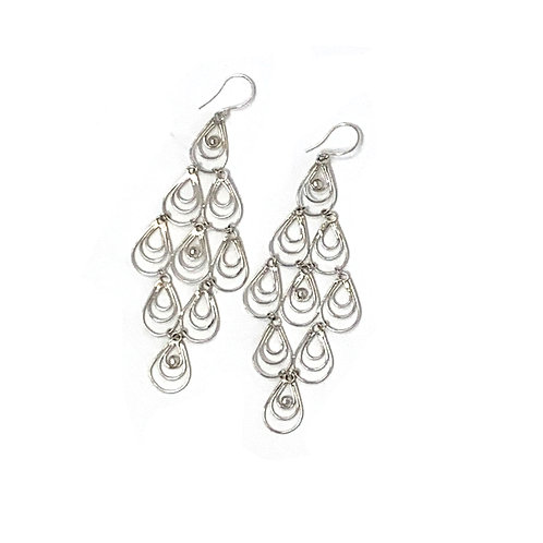 Sterling Silver Multi Drop Dangling Earrings.