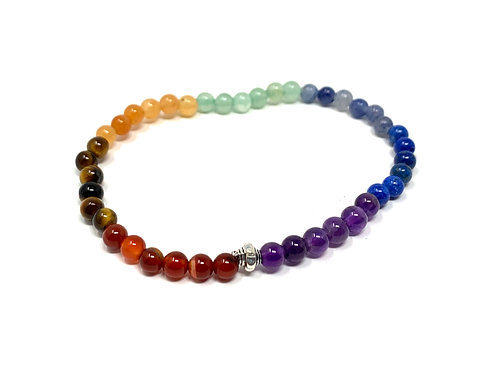 4 mm Round Chakra Elastic Bracelets