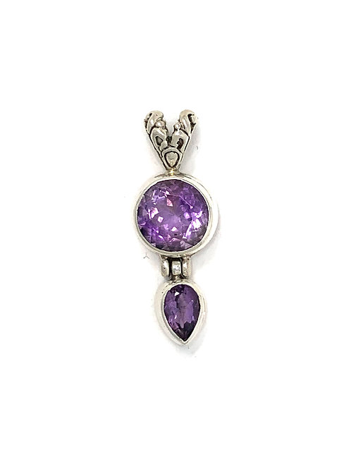 Sterling Silver Pendant with Round & Pear Shape Amethyst stone