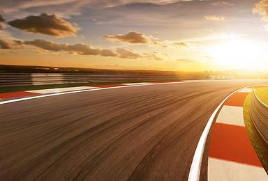 Motion blurred racetrack,golden hour moo