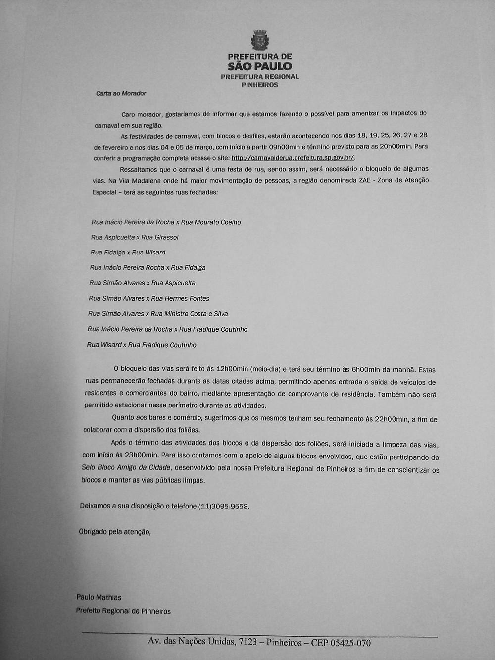 Carta ao morador