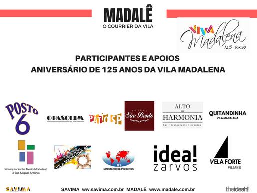 Aniversário da Vila Madalena 2018 / 125 anos                 Participantes e apoios