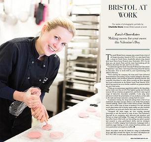 Zara hand-piping chocolate for the Bristol Magazine