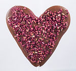 Hand-piped heart-shaped chocolate wedding favour