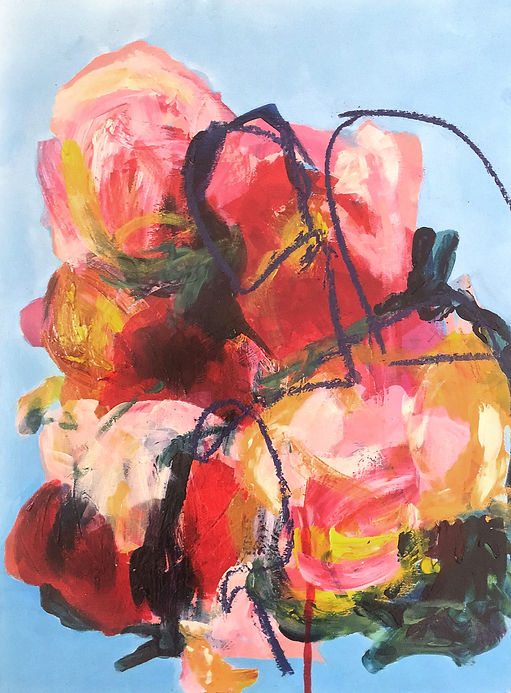 Abstract floral painting, elisa gomez