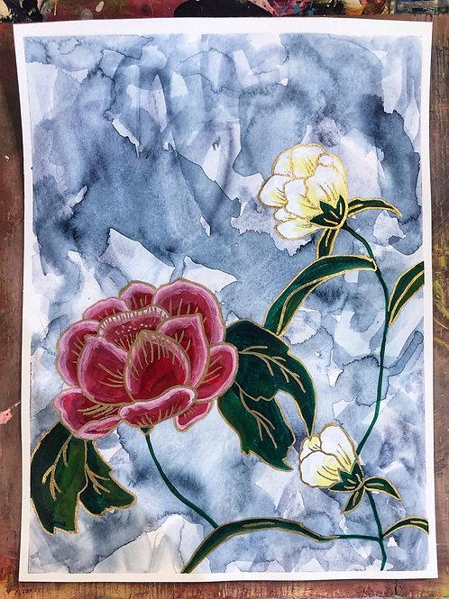 Gold Floral Study IV