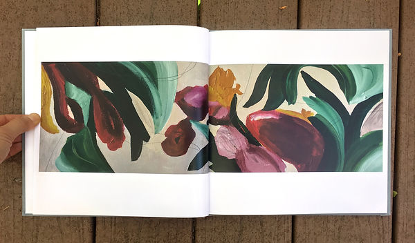 inside look of Wonderland book- long abstract floral image