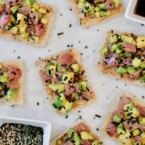 What Avocado Toast Dreams are Made of: Ahi Tuna, Avocado and Cucumber on Grilled Sourdough Toasts